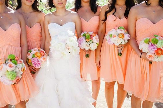 peach bridesmaid dress,short bridesmaid dress,Cheap bridesmaid dress,sweetheart bridesmaid dress,BD1375