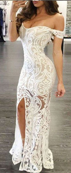 White Prom Dress - Sheath Off-the-Shoulder Long Lace with Split,BD49512