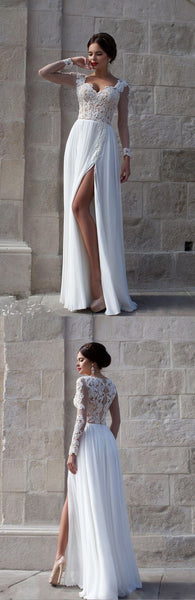Elegant Long Sleeves Appliques Top White Long Prom Dress/Evening Dresses,BD450216