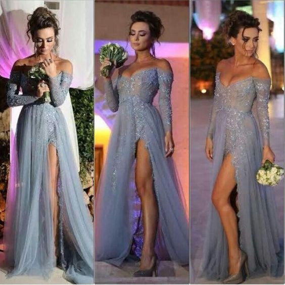 2016 Evening Dress,gray Prom Dress,slit prom dress,long Charming prom dress,BD803