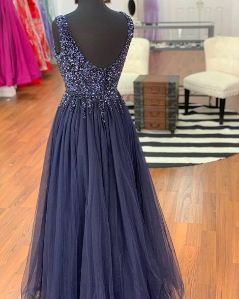 navy blue charming v-neck beaded tulle long prom dress, HO225