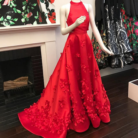 Red Prom Dresses,A-line Prom Dress,Halter Prom Dresses,2019 Prom Dress,charming Prom Dress,PD00102