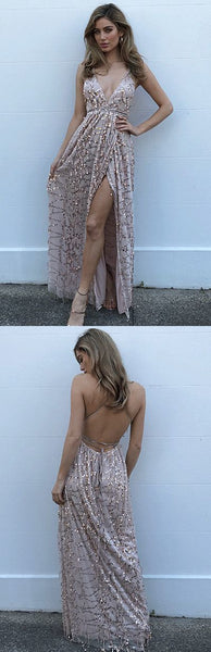 backless Prom Dresses,sexy Prom Dress with side slit,spaghetti straps Prom Dress,chic Prom Dress,BD2705