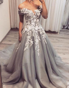 elegant grey tulle with lace appliques long chic prom dress,HO201