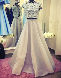 Gray lace two pieces long prom dress, evening dress