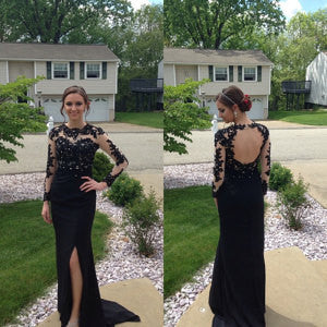 black prom dress,long Prom Dress,long sleeves prom dress,side slit evening dress,open back prom dress,BD2719