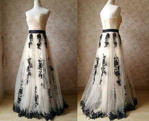 Long prom dress tulle prom dress lace applique evening gown a line