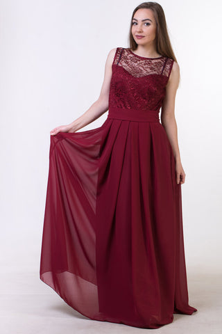 Red wine bridesmaid dress, Red wine lace Prom dress BD98017