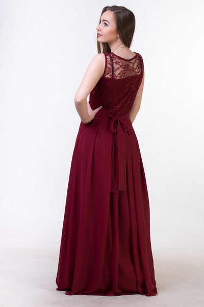 Red bridesmaid dress, Red lace Prom dress BD98017