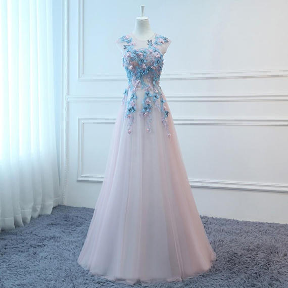 Long Pink&Blue Butterfly Evening Dress Floral Tulle Dress Women Formal Party Gown  BD98015