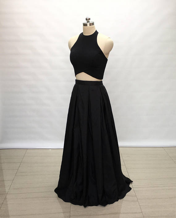 Two Piece Black Spandex Taffeta Long Prom Dress BD98011
