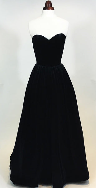 Black ball gown, prom dress, evening gown, party dress, long dress, velvet dress, strapless dress, vintage style dress,BD98019