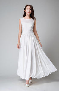white dress, white maxi dress, white chiffon dress, sleeveless dress, bridesmaid dress, BD98016