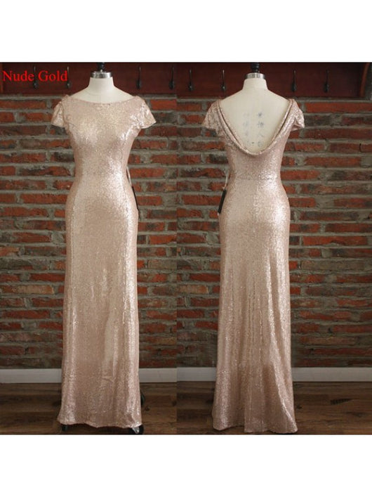 nude gold bridesmaid dress,Long bridesmaid dress,sequin bridesmaid dress,sparkle bridesmaid dress,BD821