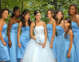 blue bridesmaid dress,short bridesmaid dress,strapless bridesmaid dress,cheap bridesmaid dress,BD1649