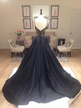black prom Dress,charming Prom Dress,A-line prom dress,evening prom dress,long prom dress,BD611
