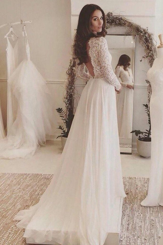 White V Neck Long Sleeve Prom Dress Elegant Simple Wedding Dress Bo02
