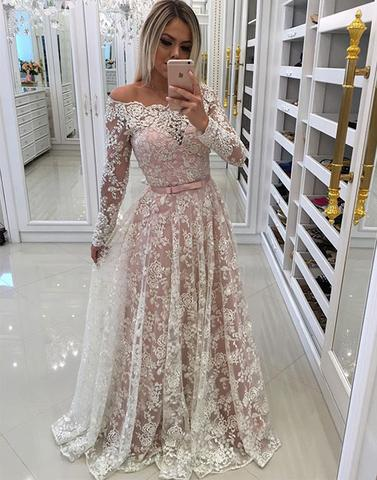 Unique lace long prom dresses, long sleeve evening dresses,BD1115