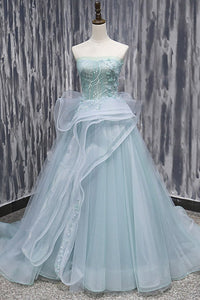 Mint Tulle Long Strapless Ruffles Sweet 16 Prom Dress, BH91216