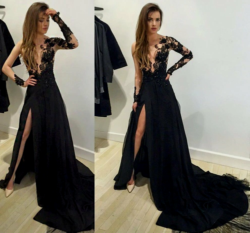 Sexy Prom Dresses, Long Sleeve Prom Dress,Leg Slit Prom Dress,Fashion Prom Dress,Lace Prom Dress,PD003