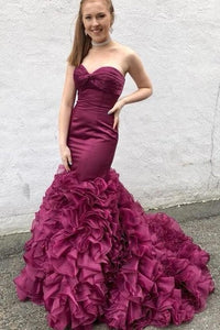 Mermaid Style Prom Dresses with Ruffles Organza Skirt, BH91253