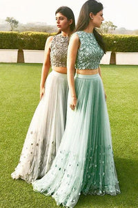 Chic Two Pieces Long Tulle With Appliques Prom Dress, BO15
