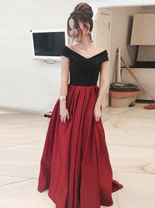 Off the Shoulder Prom Dresses,Two Tone Prom Dress,A-line Prom Dress,072605