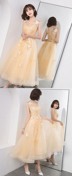 Gold v neck tulle lace short prom dress,gold homecoming dress,BH91024