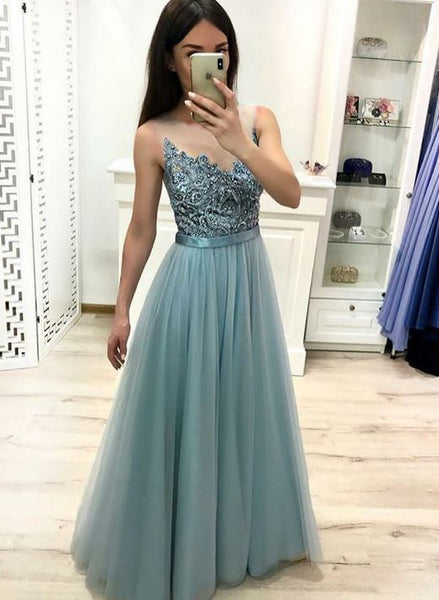 A Line Sleeveless Tulle Long Prom Dress, Evening Dress, BH91294