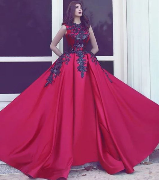 Long Red Black Lace Prom Dresses, BH91225