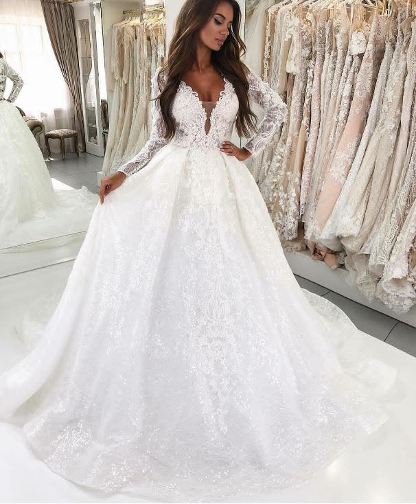 Deep V-Neck Long Sleeves Court Train Lace Wedding Dress, BH91279