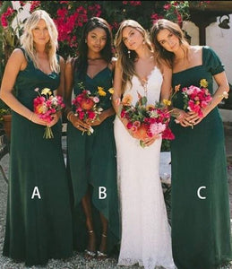 A-Line Floor Length V-neck Dark Green Bridesmaid Dresses,BH91114