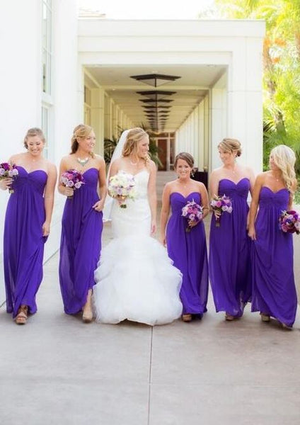 Sweetheart Long Chiffon Empire Waist Bridesmaid Dresses,BH91131
