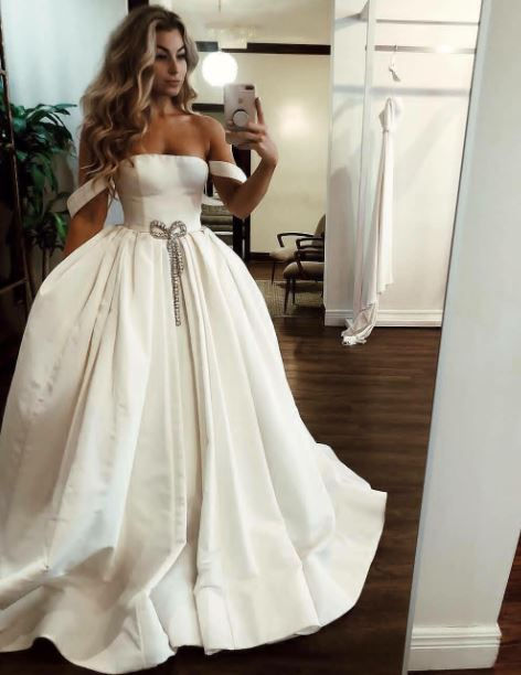 Romantic Off The Shoulder Wedding Dresses, Satin Wedding Dress, BH91280