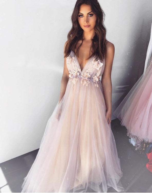 A-Line V-Neck Applique Backless Tulle Prom Dress, BH91301