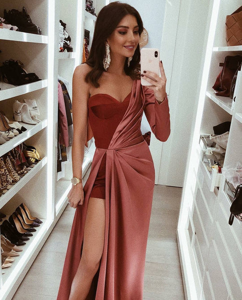 Sweetheart One Sleeve Side Slit Long Prom Dresses,BH91185