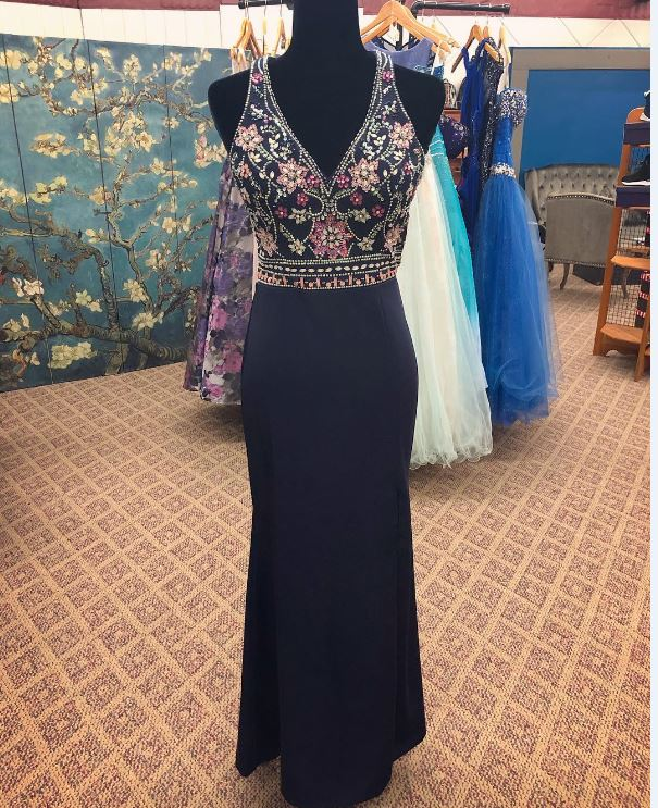 V Neck Long prom dress with Embroidery, BH91195