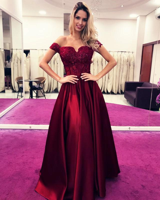 Off the Shoulder A Line Prom Dress with Appliques, Formal Evening Gowns, BH91204