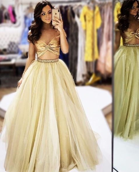 Two Piece Prom Dress,Evening Dress with Beading,BH91167