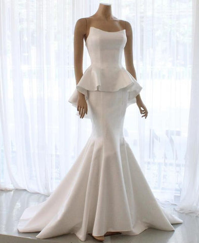 Elegant Mermaid Affordable Simple Design Bridal Long Wedding Dresses, BH91227