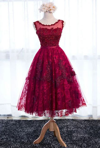 Red Sleeveless Lace Short Homecoming Dress, BH91223