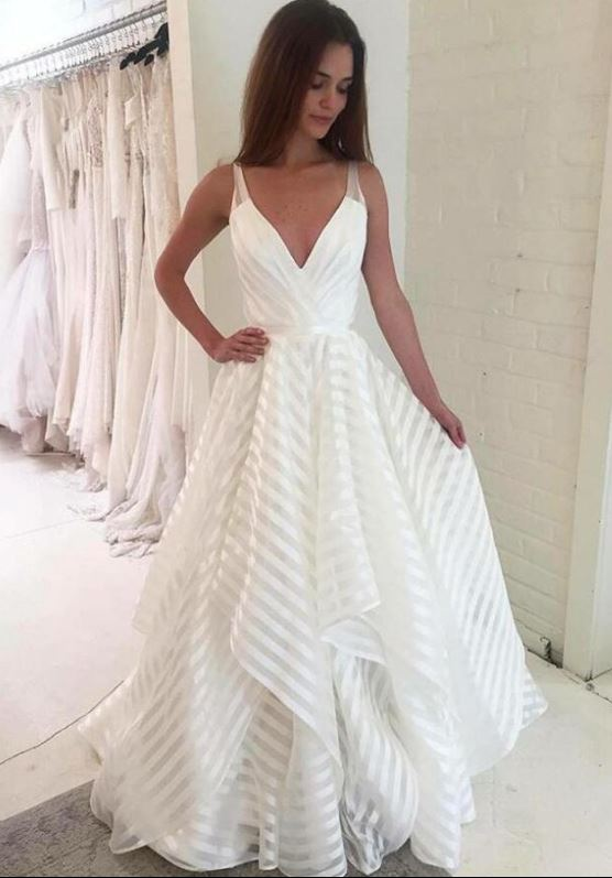Elegant Popular Formal A Line Cheap Long Beach Bridal Wedding Dresses, BH91229