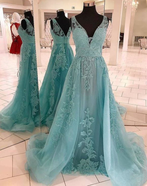 V neck Tulle Green A Line Prom Dress with Appliques, Formal Evening Gowns, BH91203