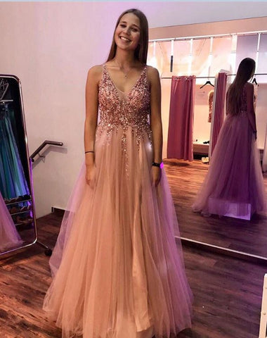 V Neck Sleeveless Tulle Long Prom Dresses with Beading, BH91284