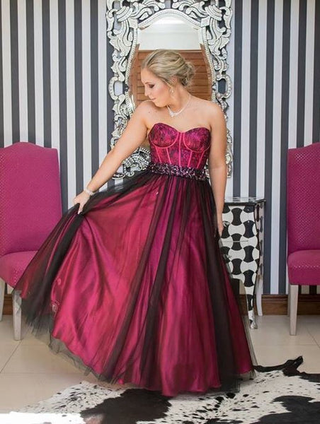 Sweetheart High Low Beaded Prom Dresses, BH91300