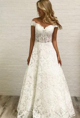 Cap Sleeve Lace A Line Formal Cheap Long Bridal Wedding Dresses, BH91228