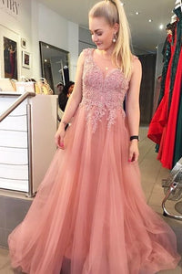 V neck Appliques Prom Dress, Tulle Beaded Long Evening Dress, BH91199