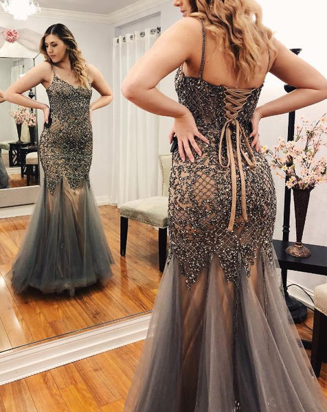 Spaghetti Straps Mermaid Prom Dress with Beading, BH91194