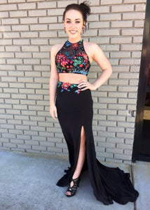 Two Piece Halter Backless Appliques Black Prom Dress with Slit, BH91264