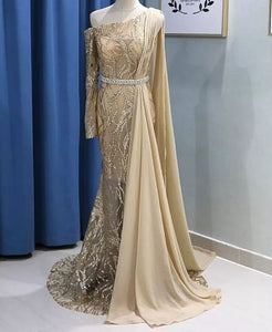 Sparkly Gold Sequin Mermaid Evening Gowns with Long Sleeves, BH91290